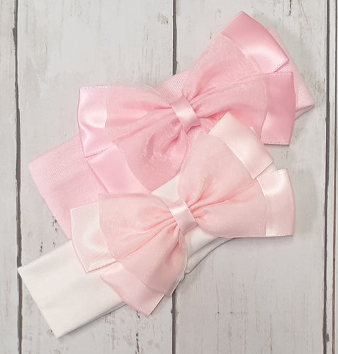 Kinder Organza Bow Lycra Stretch Headband
