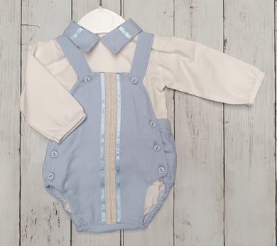 Spanish Baby Blue Panel Romper Set