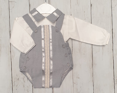 Spanish Silver And Grey Panel Romper set