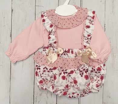 Spanish Puff Ball Floral Romper Set
