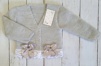 Grey Knitted Bow Cardigan