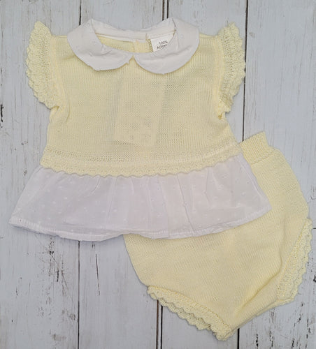 Lemon Knitted Shortie Set