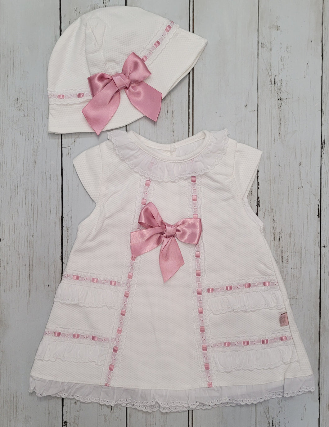 White And Rose Pink Sundress With Matching Hat