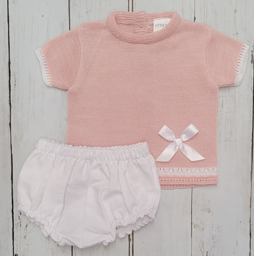Blush Pink Knitted Shortie Set