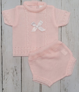 Baby Pink Knitted Shortie Set