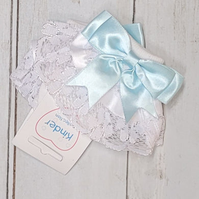 Kinder Baby Blue Double Bow Frill Socks