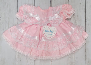 Kinder Pink Ribbon And Lace Fan Dress
