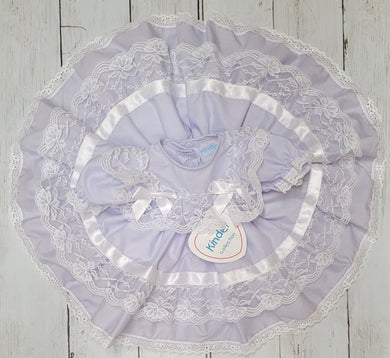 Kinder Lilac Ribbon And Lace Fan Dress
