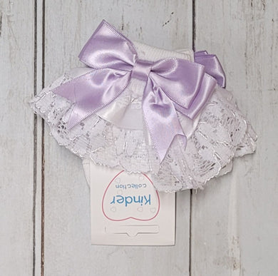 Kinder Lilac Double Bow Frill Socks
