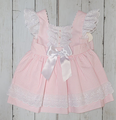 Pink Striped Bow Back Sundress