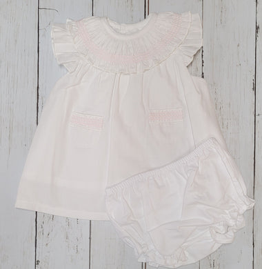White And Pink Smocking Dress And Knicks Set