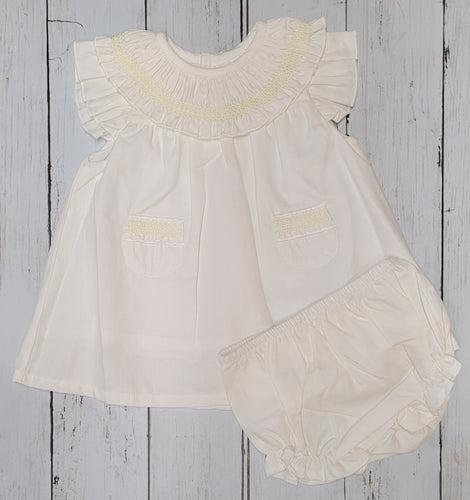 Cream And Lemon Smocking Dress And Knicks Set