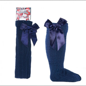 Navy Knee High Bow Socks