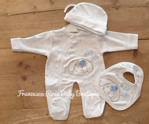 Boys Premature Three Piece Sleepsuit Set