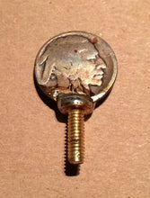 "Load image into Gallery viewer, Buffalo Nickel Vice Screw (1) Handmade Brass 5/8"" Screw 8/32"