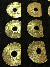 Load image into Gallery viewer, Spring Shelf Washer (1) Brass Cinco Centavos #8 Hole