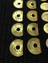 Load image into Gallery viewer, (4) Spring Shelf Washers #8 Hole Brass Cinco Centavos