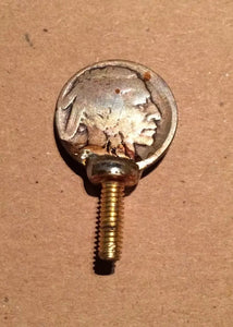 "Buffalo Nickel Vice Screw (1) Handmade Brass 5/8"" Screw 8/32"