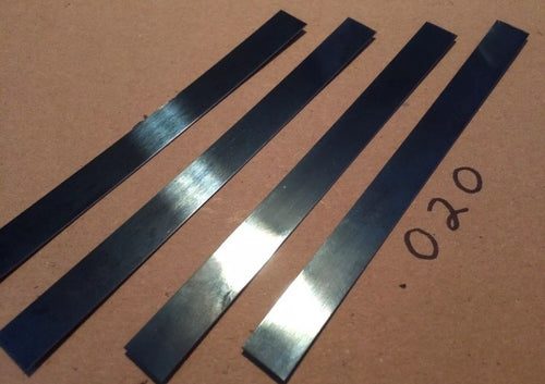 2' Spring Steel Stock .018 & .020 Thick Gauge Blue Tempered