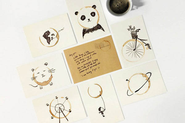 Inventive Series of Postcards made with Coffee Marks