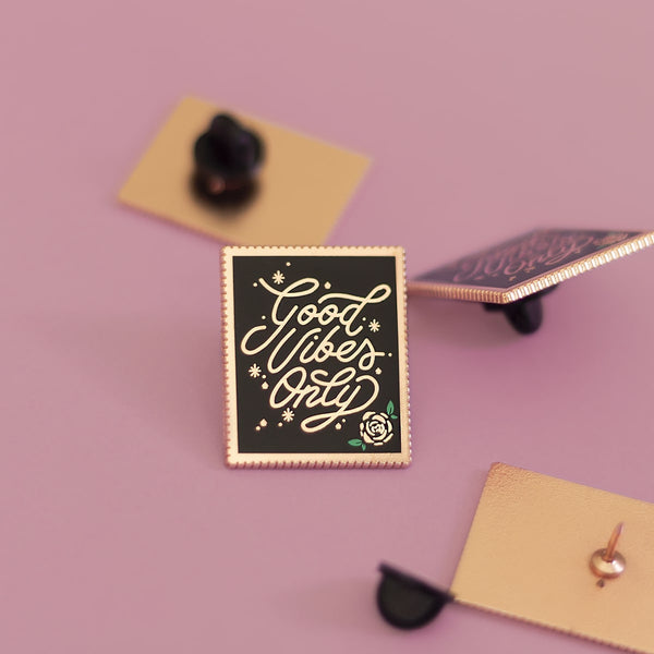 Good Vibes Stamp Enamel Pin