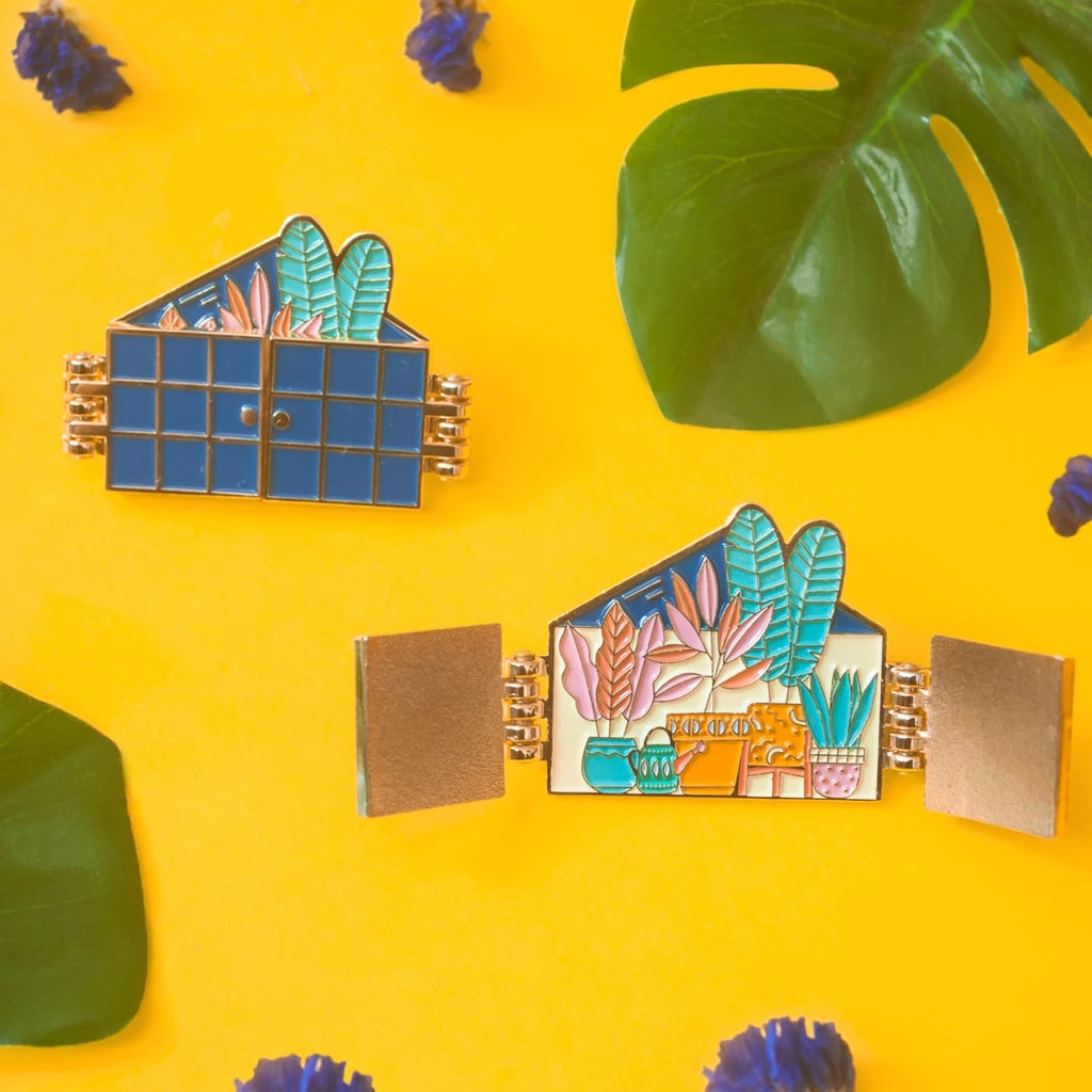 Greenhouse Enamel Pin (door opens)