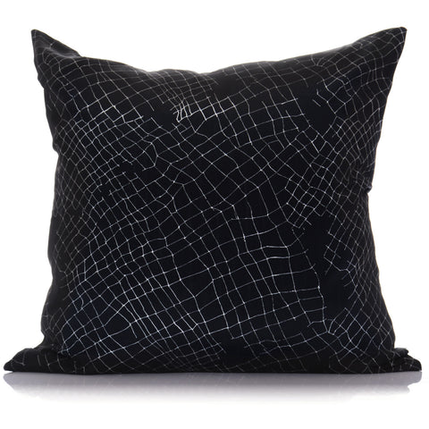 Black Net Large Linen Cushion