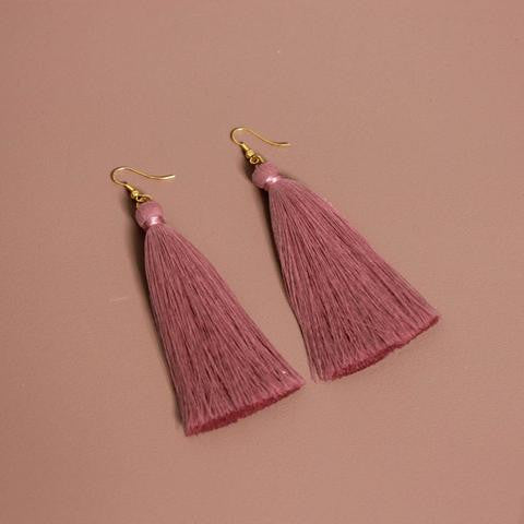 Dusty Pink Silk Tassel Earrings