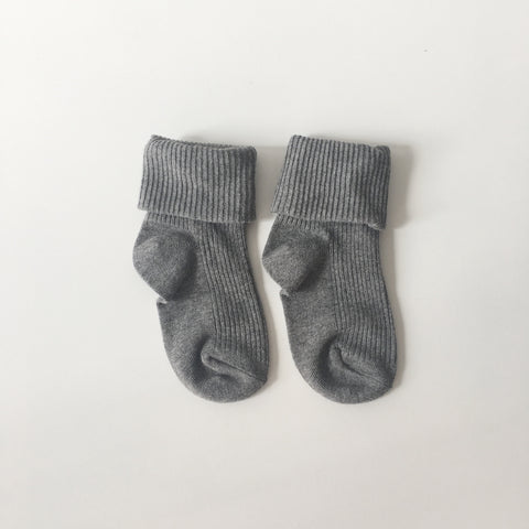 Rib Socks in Dark Grey Marle