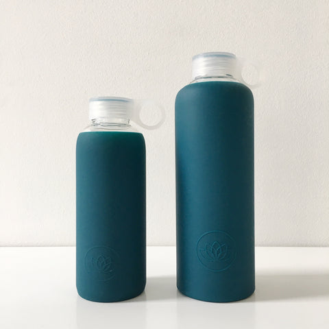 Glass Water Bottle in Teal