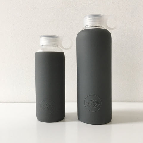 Glass Water Bottle in Charcoal