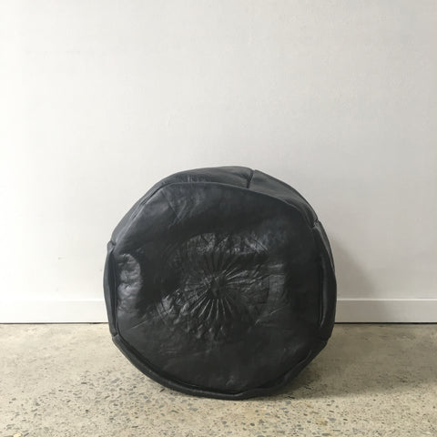 Moroccan Embossed Leather Pouf in Black