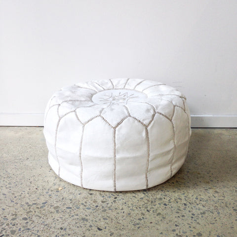 Moroccan Leather Pouf in Snow