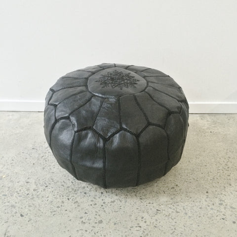 Moroccan Leather Pouf - Black