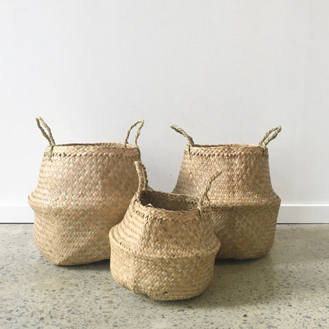 Seagrass Belly Basket in Natural