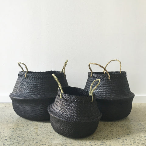 Seagrass Belly Basket in Black