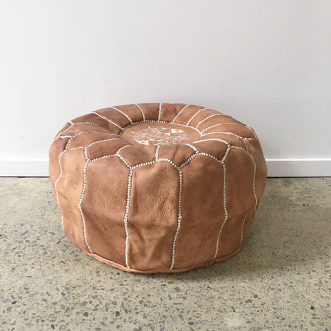 Moroccan Leather Pouf - Light Tan