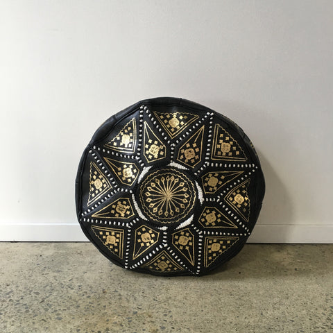 Moroccan Leather Pouf - Fez Black