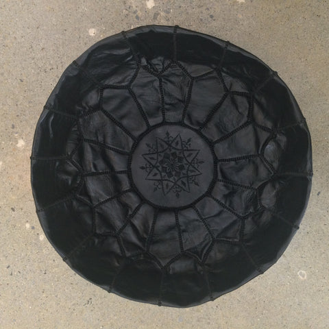 • PRE-ORDER • Moroccan Leather Pouf - Black