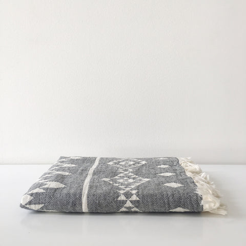 Oteki Kilim Towel in Charcoal