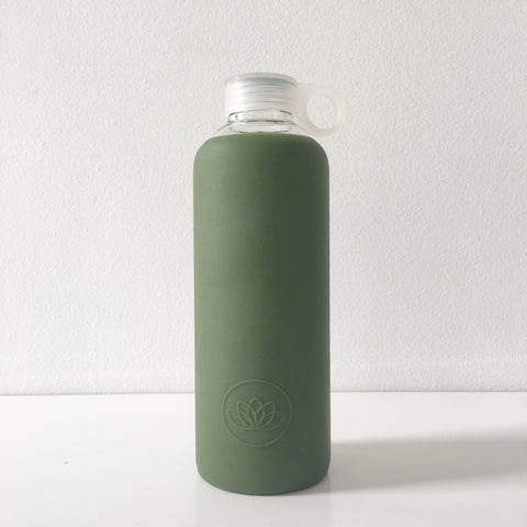 Glass Water Bottle in Army Green