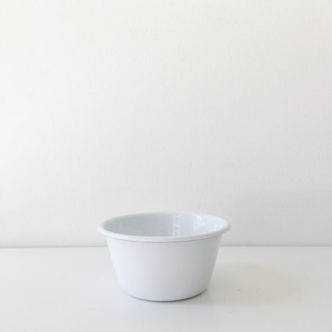White Enamel Pudding Bowl