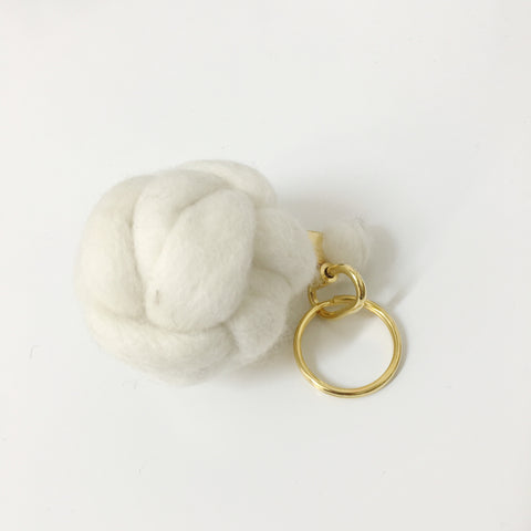Wool Knot Keyring in Cream