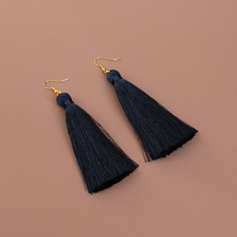 Navy Silk Tassel Earrings