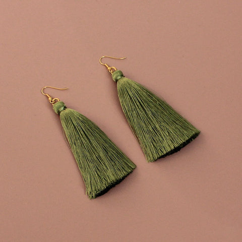 Olive Silk Tassel Earrings
