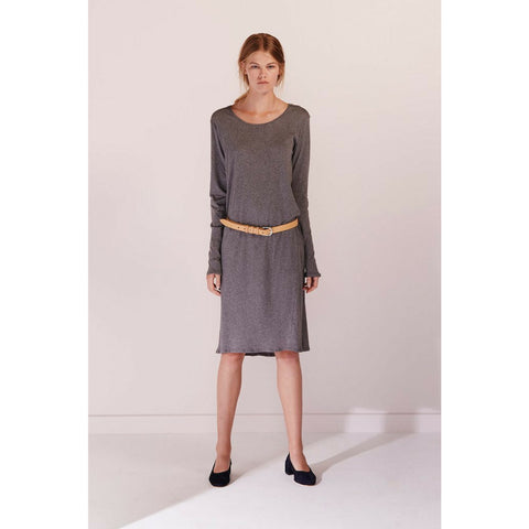 Building Block Long Sleeve Dress in Dark Grey Marle