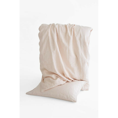 Linen Duvet Cover Set in Rose Frost