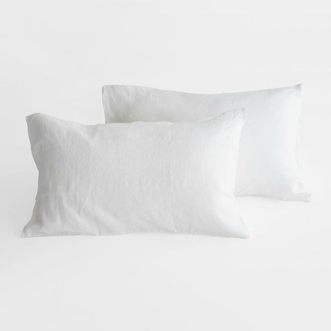 Linen Pillowcase Set in Pure White