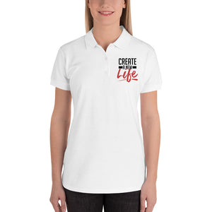 Create A New Life Embroidered Women's Polo Shirt