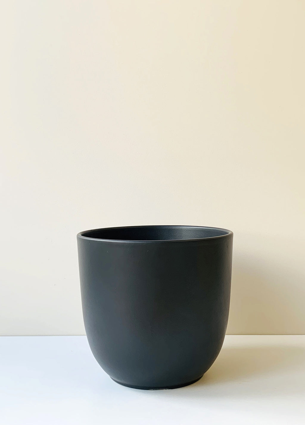 Large Tusca Matte Black Ceramic Planter